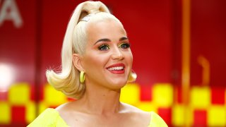 In this file photo, Katy Perry speaks to media on March 11, 2020 in Bright, Australia. The free Fight On concert was held for for firefighters and communities recently affected by the devastating bushfires in Victoria.