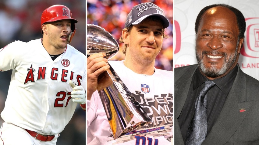 Baseball player Mike Trout, former NFL quarterback Eli Manning and actor John Amos