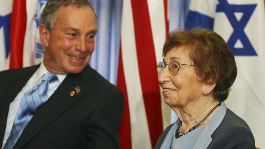 010209 Michael Bloomberg and mother Charlotte