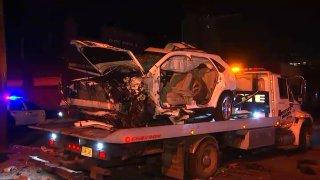 Damaged car after drunken crash