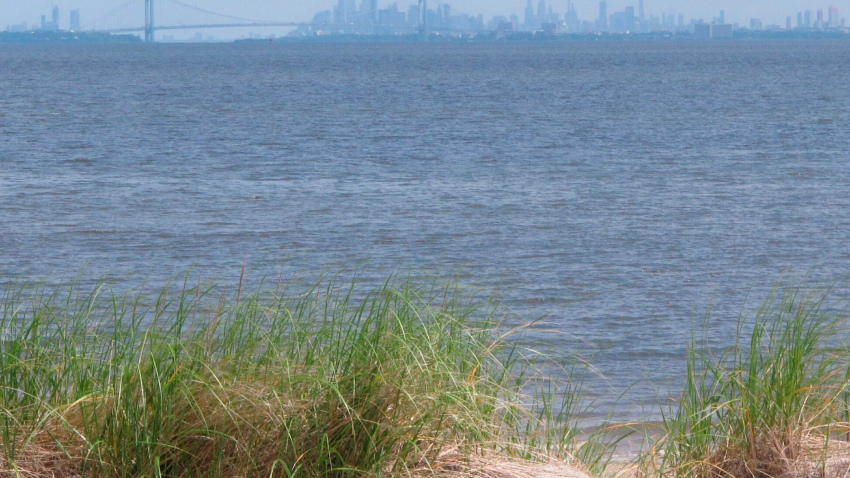 In this June 3, 2019 file photo, the New York City skyline is seen behind Raritan Bay from Middletown, N.J. On Thursday, Feb. 20, 2020, Oklahoma-based Williams Companies said it is resuming its effort to gain approval from New Jersey environmental regulators for a nearly $1 billion pipeline that would bring natural gas from Pennsylvania through New Jersey, out into Raritan Bay and into the ocean before reaching New York and Long Island.