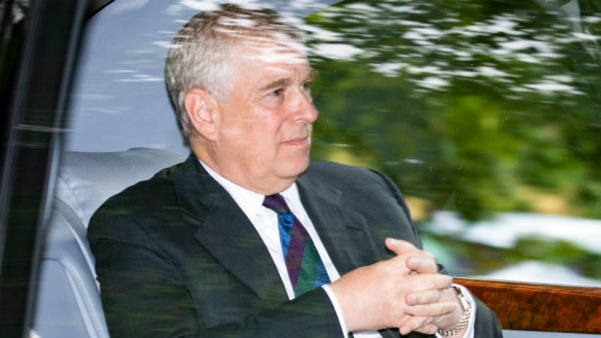In this Aug. 11, 2019, file photo, Prince Andrew, Duke of York is driven from Crathie Kirk Church following the service in Crathie, Aberdeenshire.