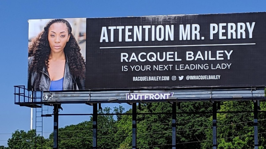 Racquel Bailey billboard asking to be hired by tyle rperry