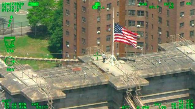 aerial image of man on top of bridge