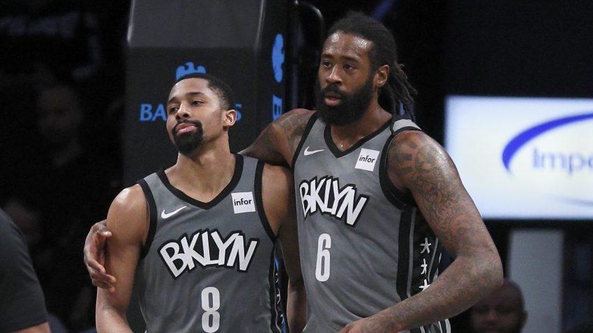 DeAndre Jordan #6 and Spencer Dinwiddie #8 of the Brooklyn Nets