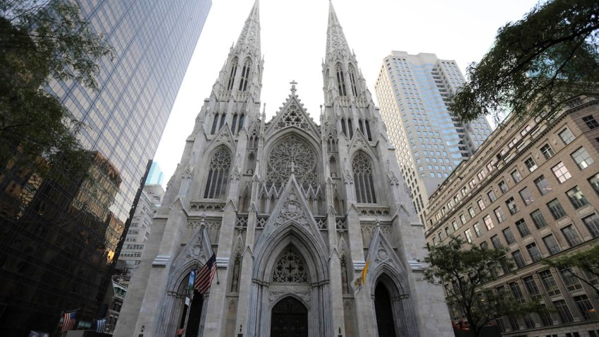 This Aug. 30, 2015, file photo, shows the newly renovated and cleaned facade of St. Patrick's Cathedral in New York.