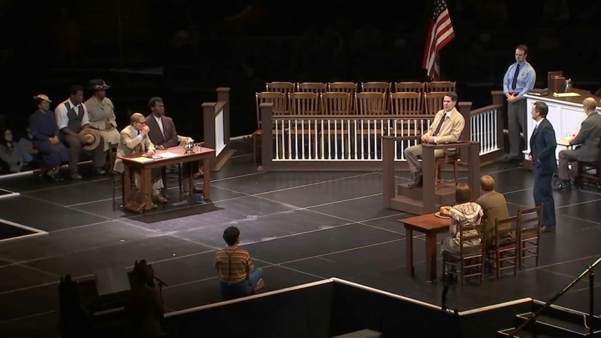 Stage set up as a court room for the To Kill a Mockingbird play at Madison Square Garden