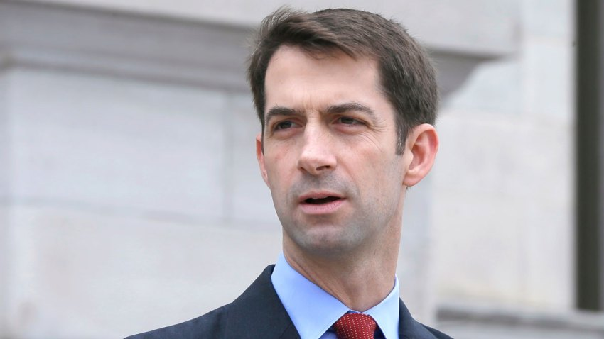 In this undated file photo, U.S. Sen. Tom Cotton, R-Ark., speaks in front of the Arkansas state Capitol in Little Rock, Arkansas.