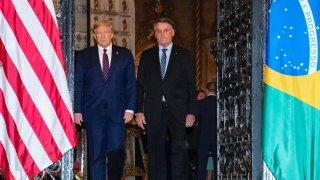 President Donald Trump arrives before a dinner with Brazilian President Jair Bolsonaro at Mar-a-Lago