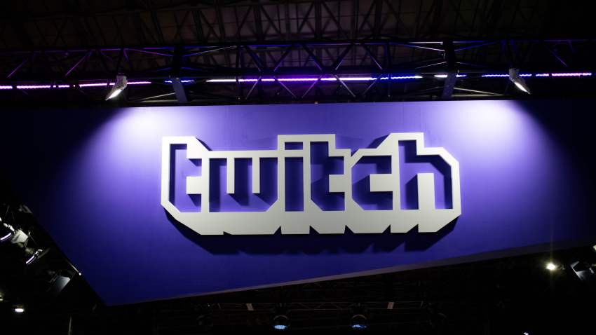 In this Sept. 21, 2018, file photo, the logo of the VOD and streaming video games company Twitch is seen at the Tokyo Game Show.