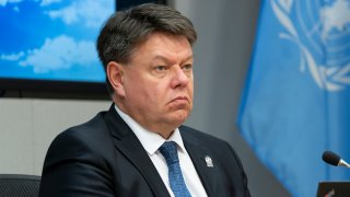 In this March 3, 2020, file photo, SG of the World Meteorological Organization Petteri Taalas briefs the press on climate change at UN Headquarters.