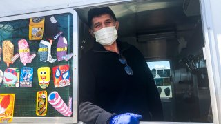 In this April 11, 2020, file photo, Mister Softee ice cream truck driver Mutlu Gani pauses for a photo while waiting for customers in the Brooklyn borough of New York.