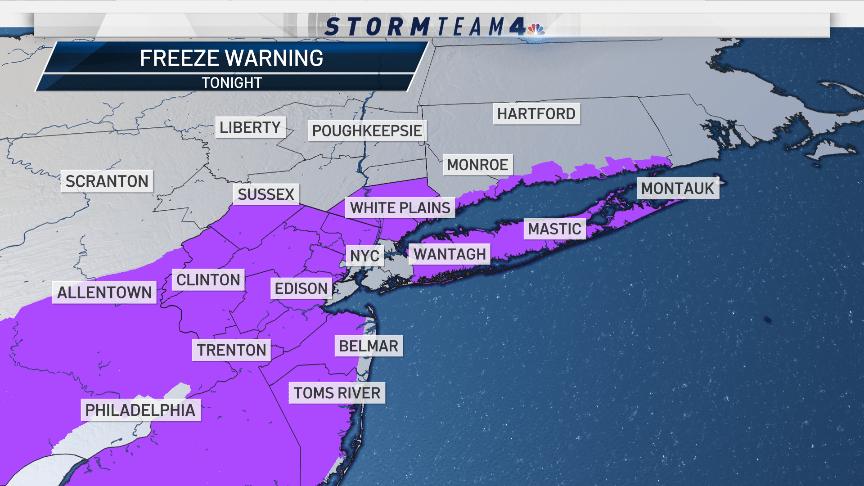 NYC region freeze warning