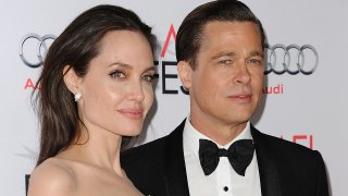 """In this file photo, Angelina Jolie and Brad Pitt attend the premiere of """"By the Sea"""" at the 2015 AFI Fest at TCL Chinese 6 Theatres on November 5, 2015 in Hollywood, California."""