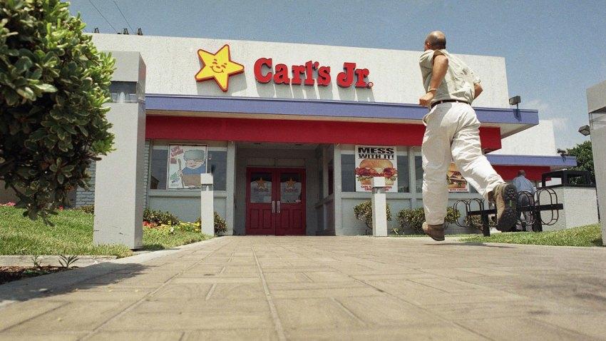 An eager customer makes his way toward a Carl?s Jr. in Los Angel