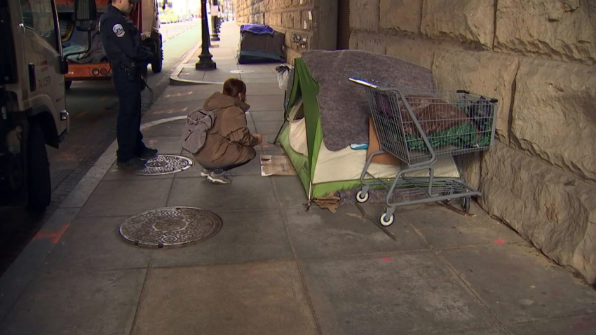 dc homeless camp cleanup warning