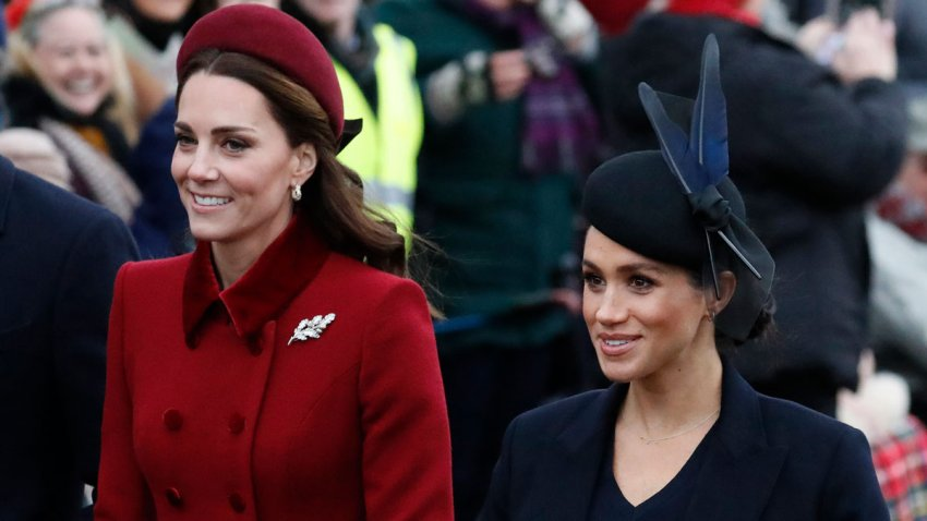In this Tuesday, Dec. 25, 2018, file photo, Britain's Kate, Duchess of Cambridge, left, and Meghan, Duchess of Sussex arrive to attend the Christmas day service at St Mary Magdalene Church in Sandringham in Norfolk, England.