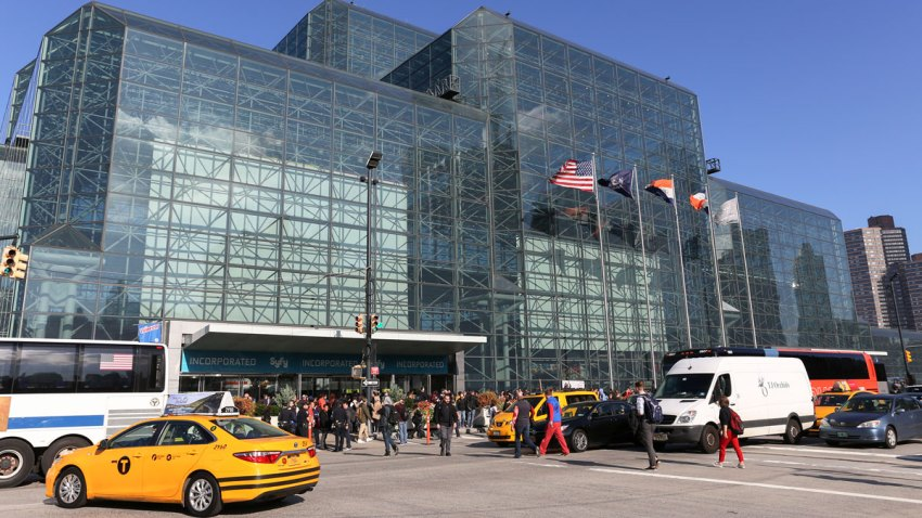 An exterior of the Javits Center during the first day of New York Comic Con.