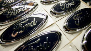 A file photo of Ford logos.