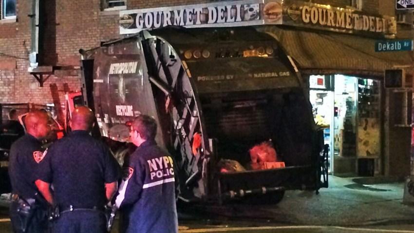 garbage truck into deli