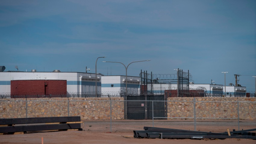 The Immigration and Customs Enforcement El Paso Processing Center is seen from a distance around which protesters drove in a caravan demanding the release of ICE detainees due to safety concerns amidst the COVID-19 outbreak on April 16, 2020 in El Paso, Texas.