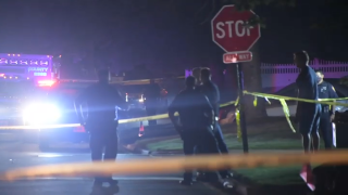 police investigate the scene of a shooting on Long Island