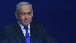 In this March 3, 2020, file photo, Israeli Prime Minister Benjamin Netanyahu during his address to supporters following the announcement of exit polls in Israel's election at his Likud party headquarters in Tel Aviv.