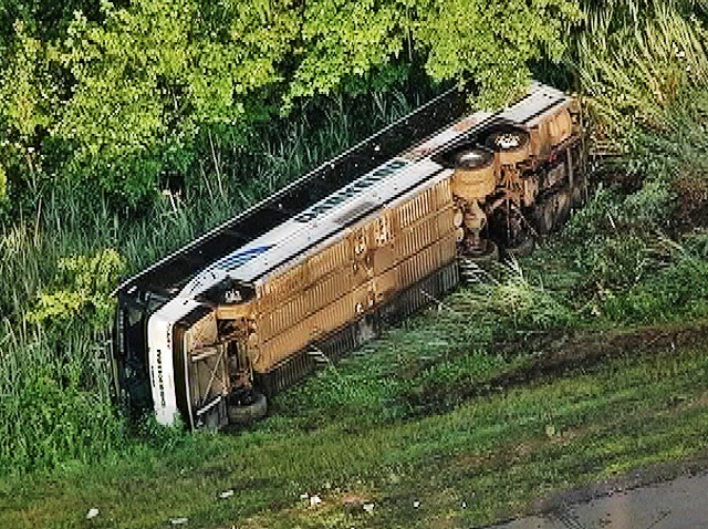 overturned bus parkway