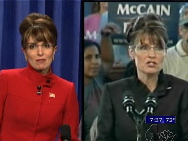 101808 Tina Fey Sarah Palin SNL side-by-side