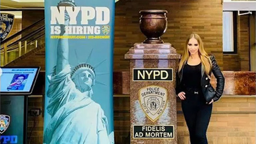 porn star NYPD HQ reszied