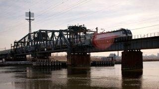 Amtrak Train on Portal Bridge