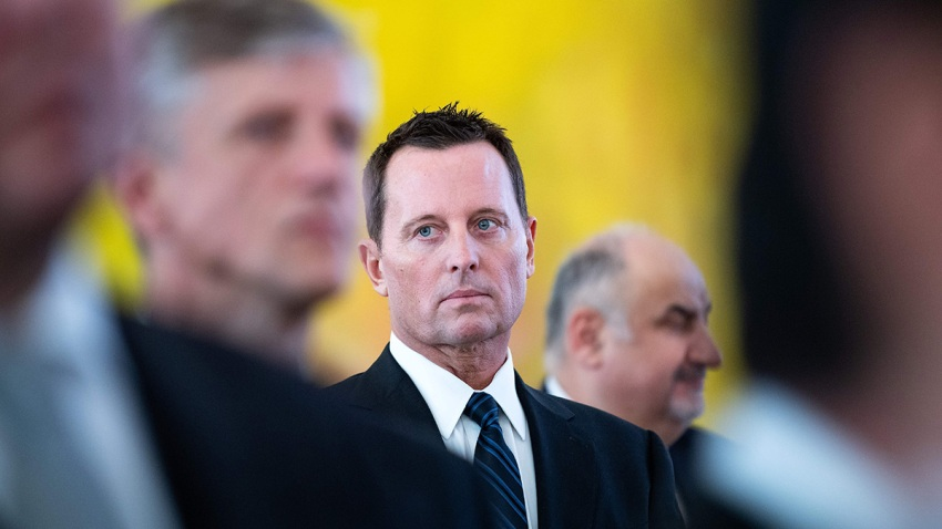 U.S. Ambassador to Germany Richard Allen Grenell (C) attends a new year's reception of the German President on Jan. 14, 2019, in Berlin.