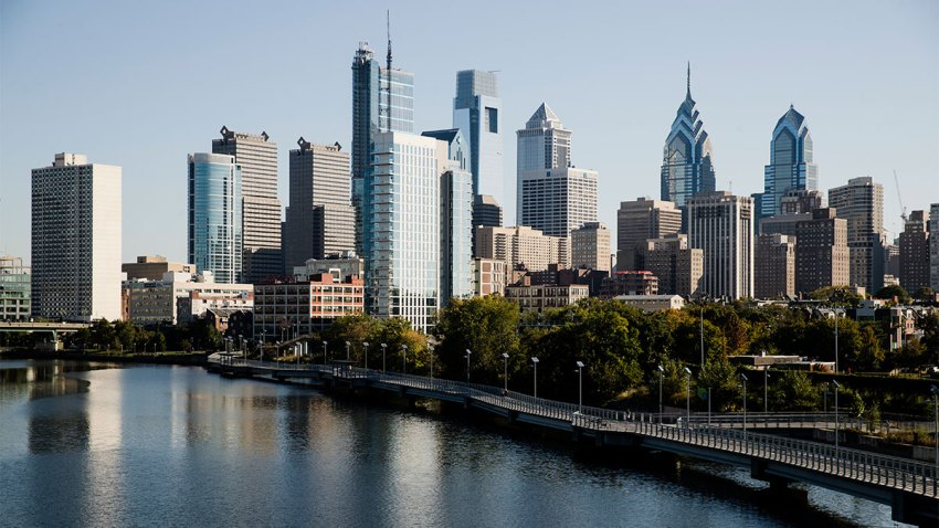 Shown is the Schuylkill River and view of the Philadelphia skyline