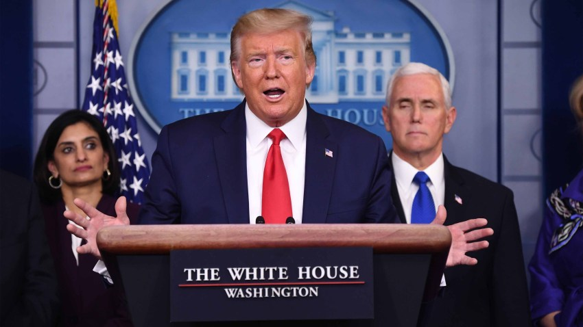Donald Trump speaks while Vice President Mike Pence, right, and Seema Verma, administrator of the Centers for Medicare and Medicaid Services, left, listen during a Coronavirus Task Force news conference in the briefing room of the White House in Washington, D.C., U.S., on Wednesday, March 18, 2020.