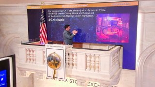 On behalf of The New York Stock Exchange, Mark Casalinuovo, Supervisor, Facilities, rings The Opening Bell on April 23, 2020, in New York.
