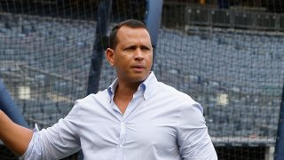 Former Yankee Alex Rodriguez prior to the start of a game against the New York Mets at Yankee Stadium on July 22, 2018 in the Bronx borough of New York City