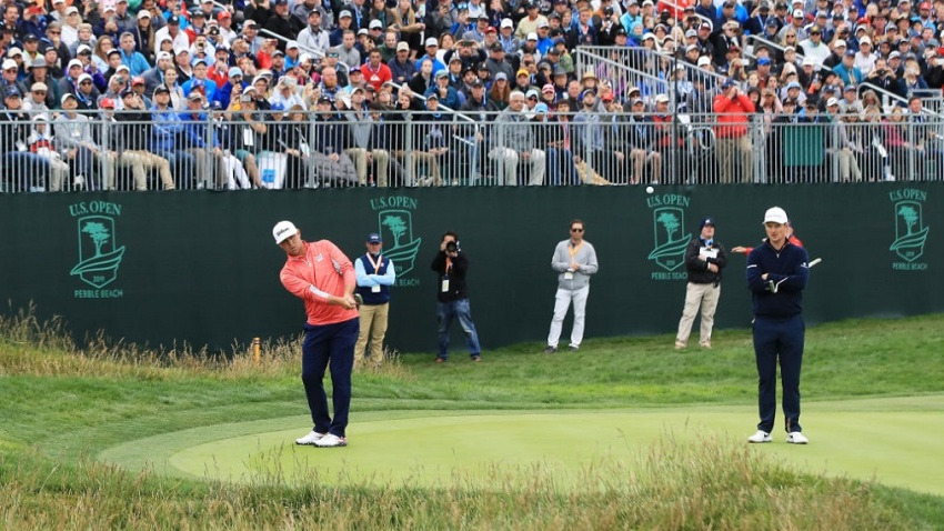 Gary Woodland of the United States plays a second shot on the 17th hole during the final round of the 2019 U.S. Open at Pebble Beach Golf Links on June 16, 2019 in Pebble Beach, California.