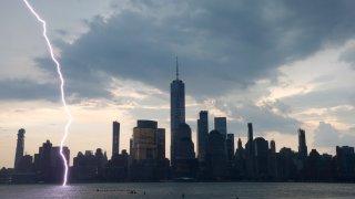 Lightning Strike in water of NYC