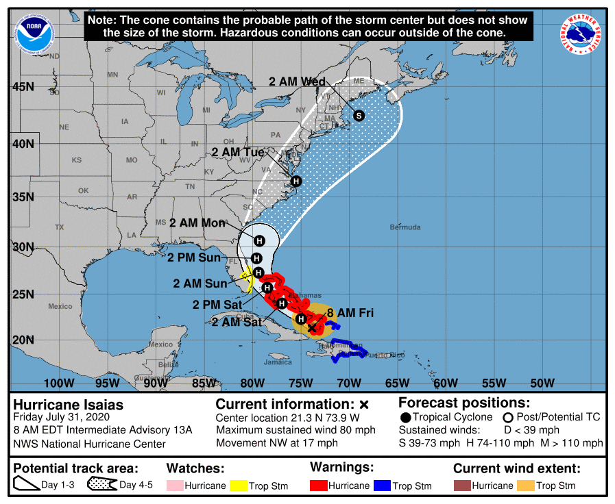 NYC, Entire Tri-State in Cone of Concern Next Week as Hurricane Isaias Eyes Bahamas Friday
