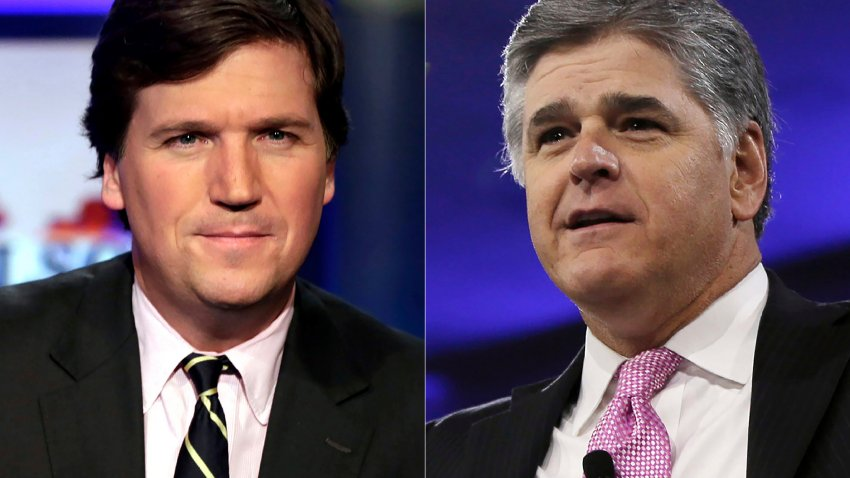 """This combination photo shows, Tucker Carlson, host of """"Tucker Carlson Tonight,"""" left, and Sean Hannity, host of """"Hannity"""" on Fox News. The Fox News and Fox Business channels are going international. A digital streaming service with the pair will launch in Mexico this month, expanding to Spain, Germany and the United Kingdom in September."""