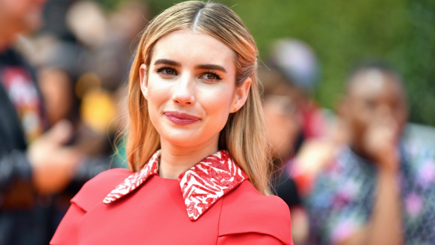 "In this April 27, 2019, file photo, Emma Roberts attends STX Films World Premiere of ""UglyDolls"" at Regal Cinemas L.A. Live in Los Angeles, California."