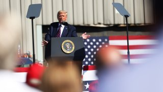 OLD FORGE, PENNSYLVANIA - AUGUST 20: U.S. President Donald J. Trump speaks at his campaign rally on August 20, 2020 in Old Forge, Pennsylvania. President Trump is campaigning in the battleground state of Pennsylvania near the hometown of former Vice President Joe Biden, hours before Biden will accept the Democratic Presidential nomination on the last day of the Democratic National Convention.