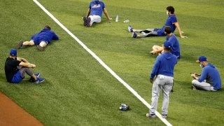 New York Mets socially distance on field