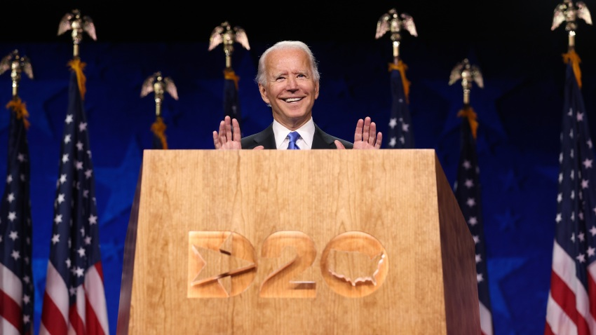Democratic presidential nominee Joe Biden delivers his acceptance speech on the fourth night of the Democratic National Convention from the Chase Center on August 20, 2020 in Wilmington, Delaware.