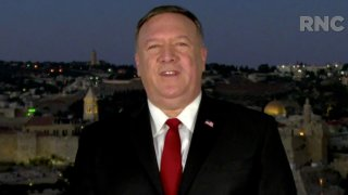 In this screenshot from the RNC's livestream of the 2020 Republican National Convention, U.S. Secretary of State Mike Pompeo addresses the virtual convention in a pre-recorded video from Jerusalem, Israel, on August 25, 2020.