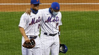 Mets players Dominic Smith and J.D. Davis