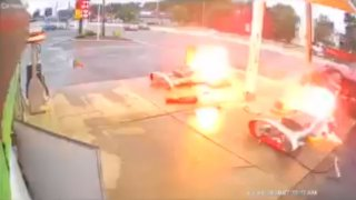Two gas pumps burst into flames after SUV slams into them in South Brunswick, New Jersey.