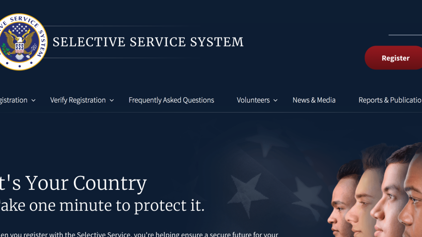 A screenshot from the Selective Service's website.