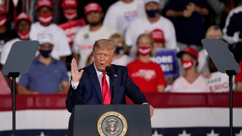 President Donald Trump speaks at a campaign rally Tuesday, Sept. 8, 2020, in Winston-Salem, N.C.