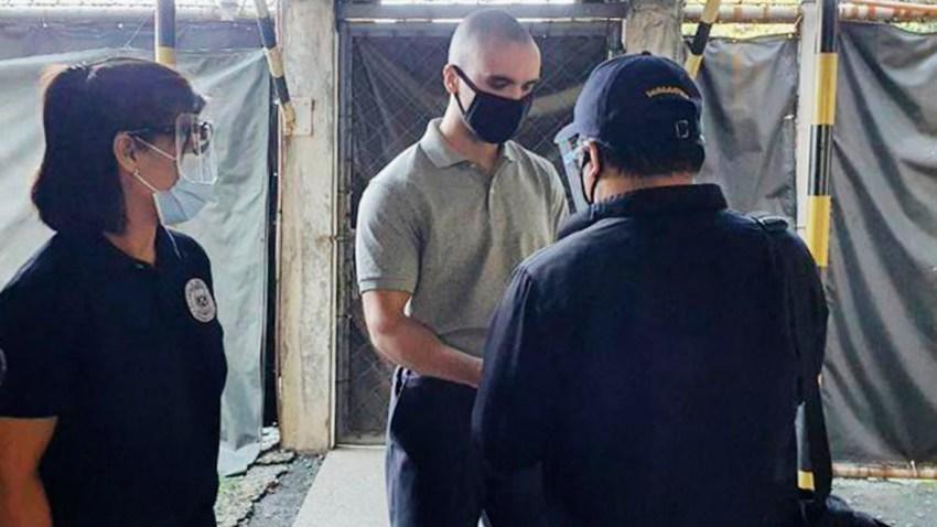 U.S. Marine Lance Cpl. Joseph Scott Pemberton gets ready to leave Camp Aguinaldo